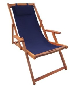 Bentley Garden Wooden Deck Chair - Blue