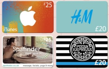 gift cards tesco iTunes, H&M, Spafinder and Pizza Express