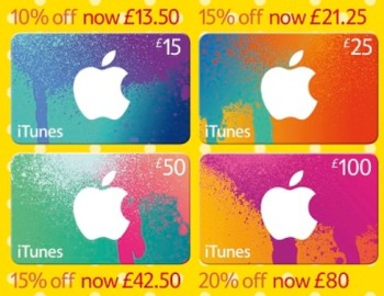 itunes gift card sale tesco
