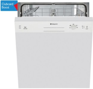 Hotpoint Built-In Dishwasher, LSB5B019W, White triple clubcard points
