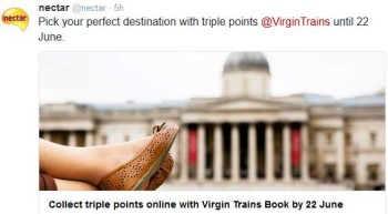 triple nectar points with virgin trains